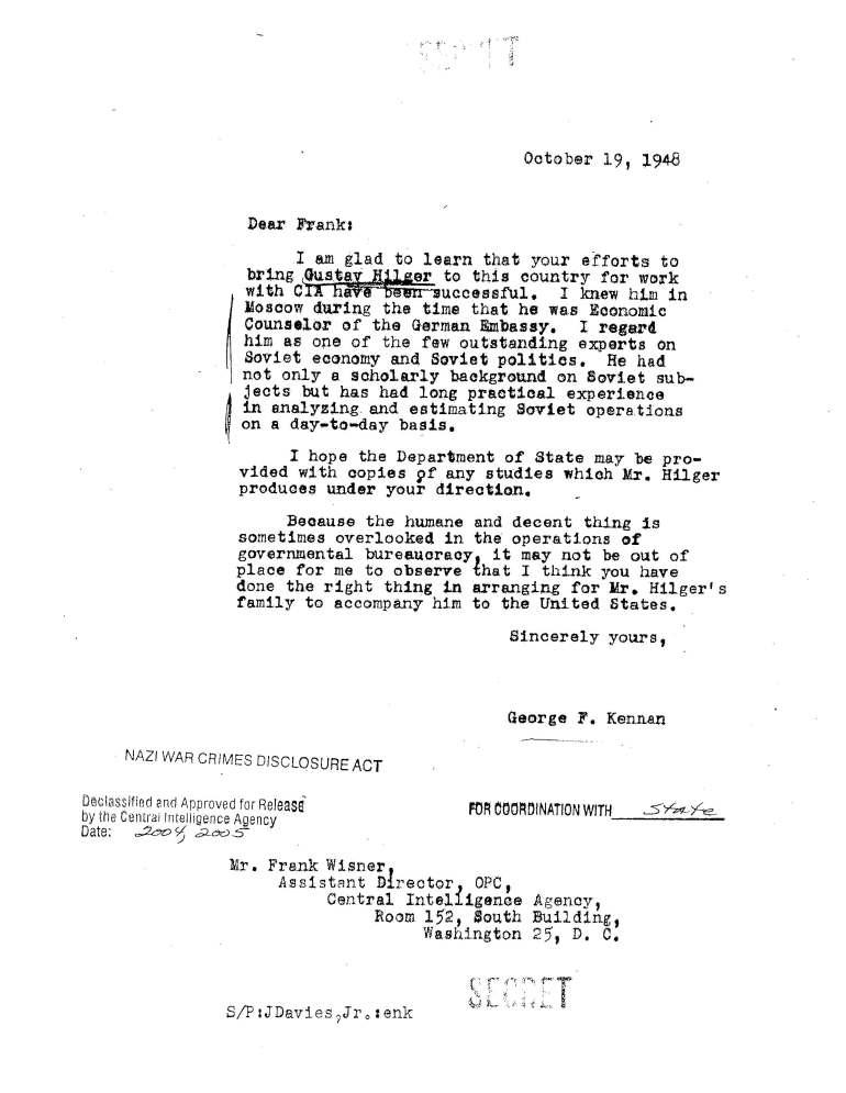 Letter to frank Wisner re Gustav Hilger October 19, 1948