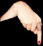 down point female tattoo finger