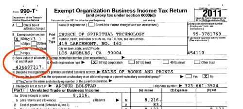 CHurch of spiritual technology 2011 tax return page 1