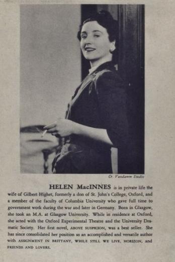 helen-macinnes-spywriter wife of BSC man Gilbert Highet