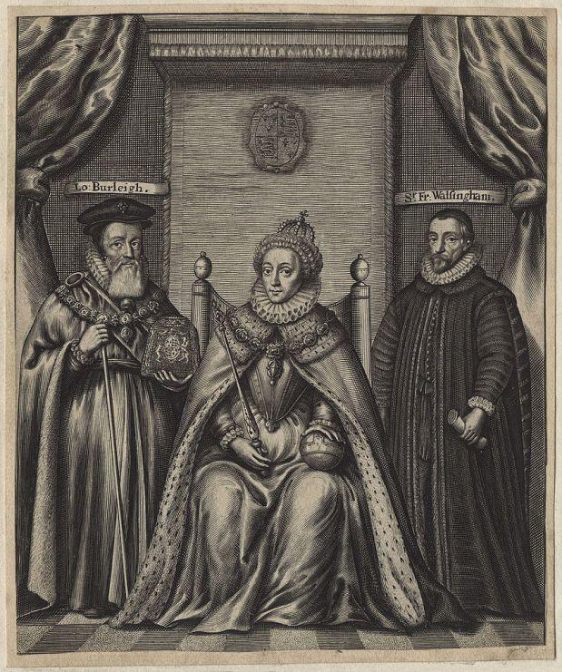855px-Queen_Elizabeth_I;_Sir_Francis_Walsingham;_William_Cecil,_1st_Baron_Burghley_by_William_Faithorne_(2)