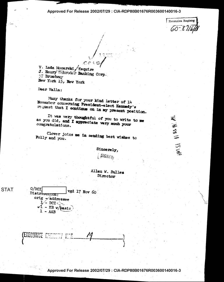 Dulles letter to Valerian Lada-Mocarsky
