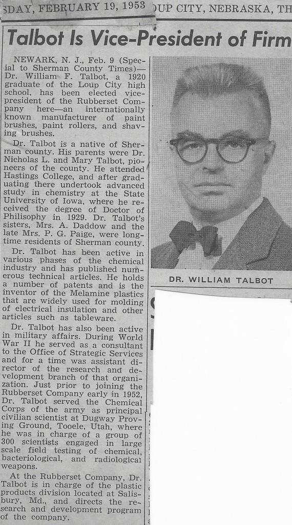 feb 19 1953 nebraska paper douments talbot OSS background