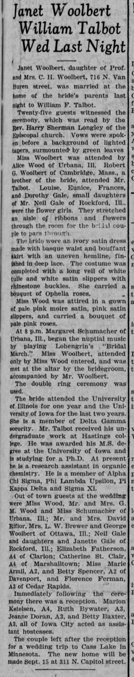 William F. Talbot Wedding