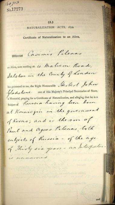 pilenas england naturalization 1908 1