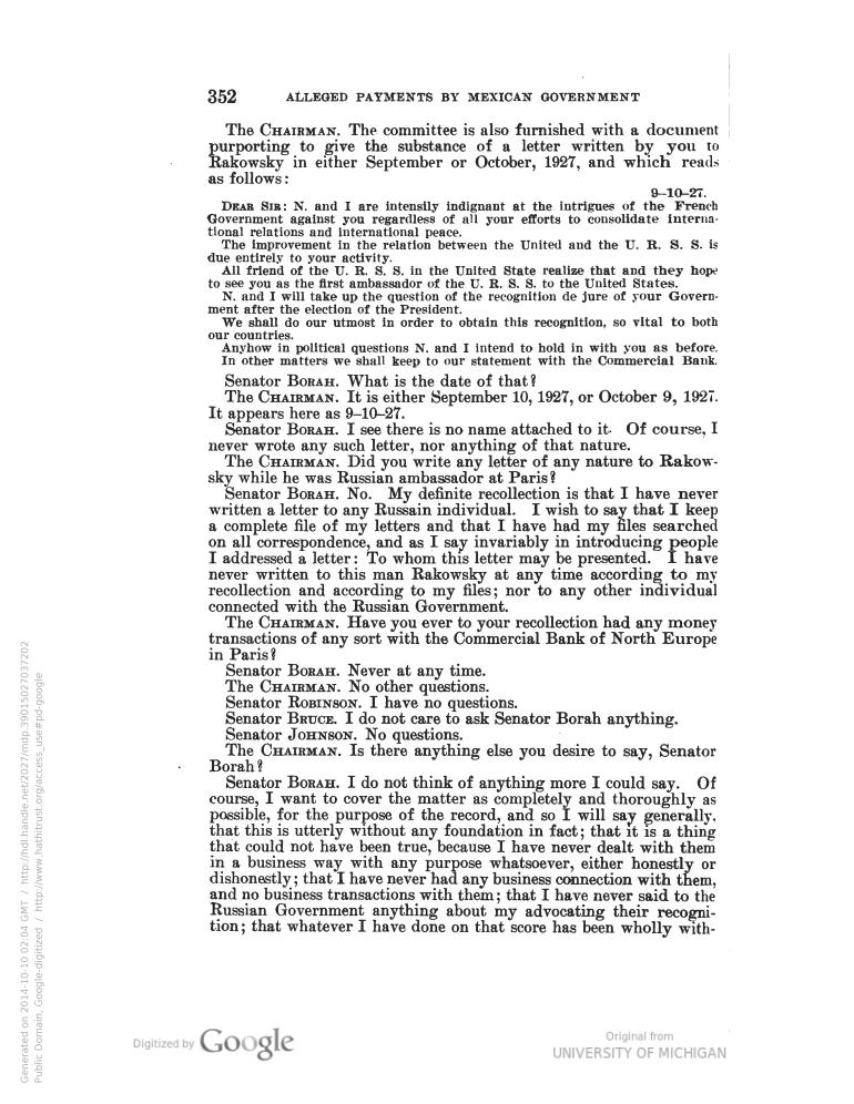 forged borah letter october 1927