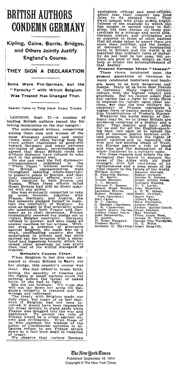 masterman - new york times friday sept 18 1914 Britains destiny