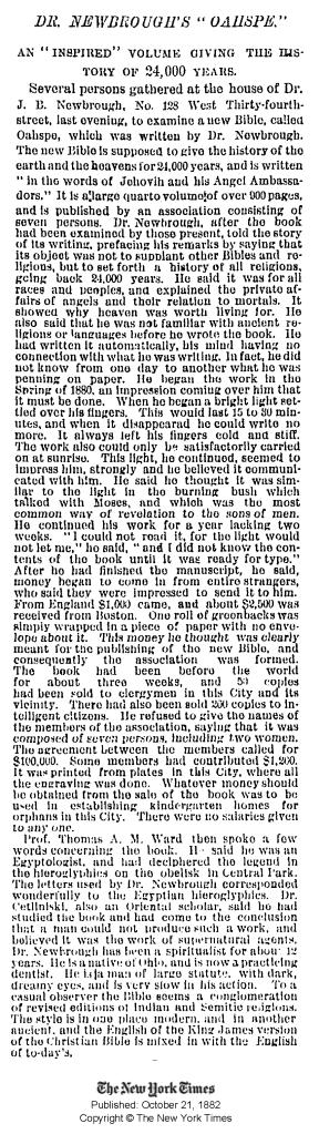 new york times oahspe 1882
