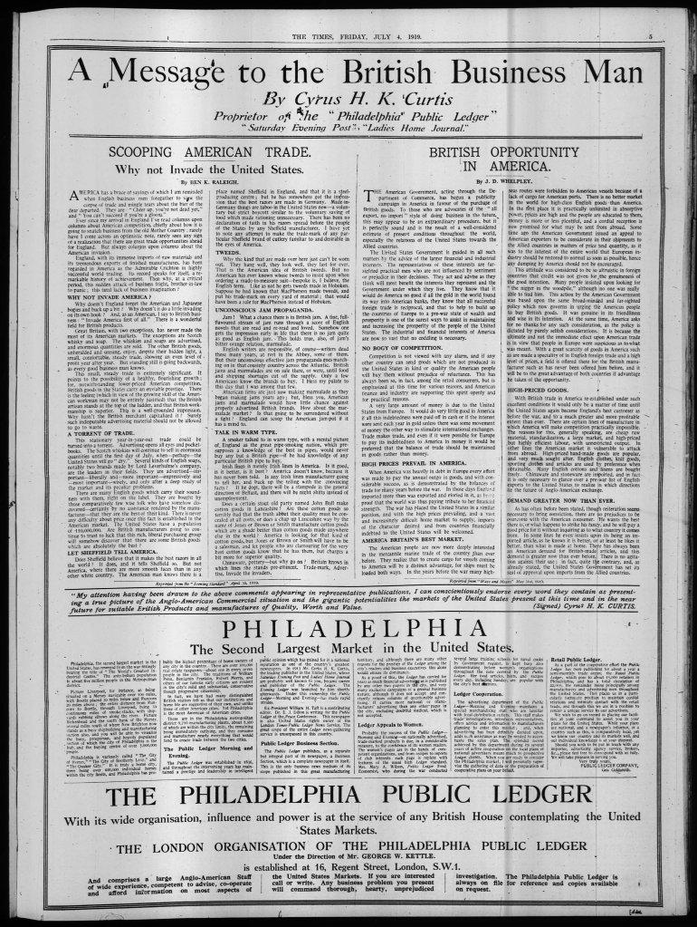 The_Times_Fri__Jul_4__1919 curtis philadelphia public ledger british