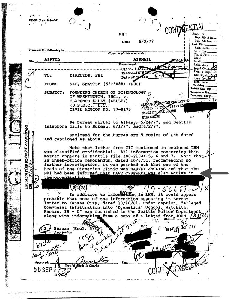 FBI doc 1977 - dave cysewski