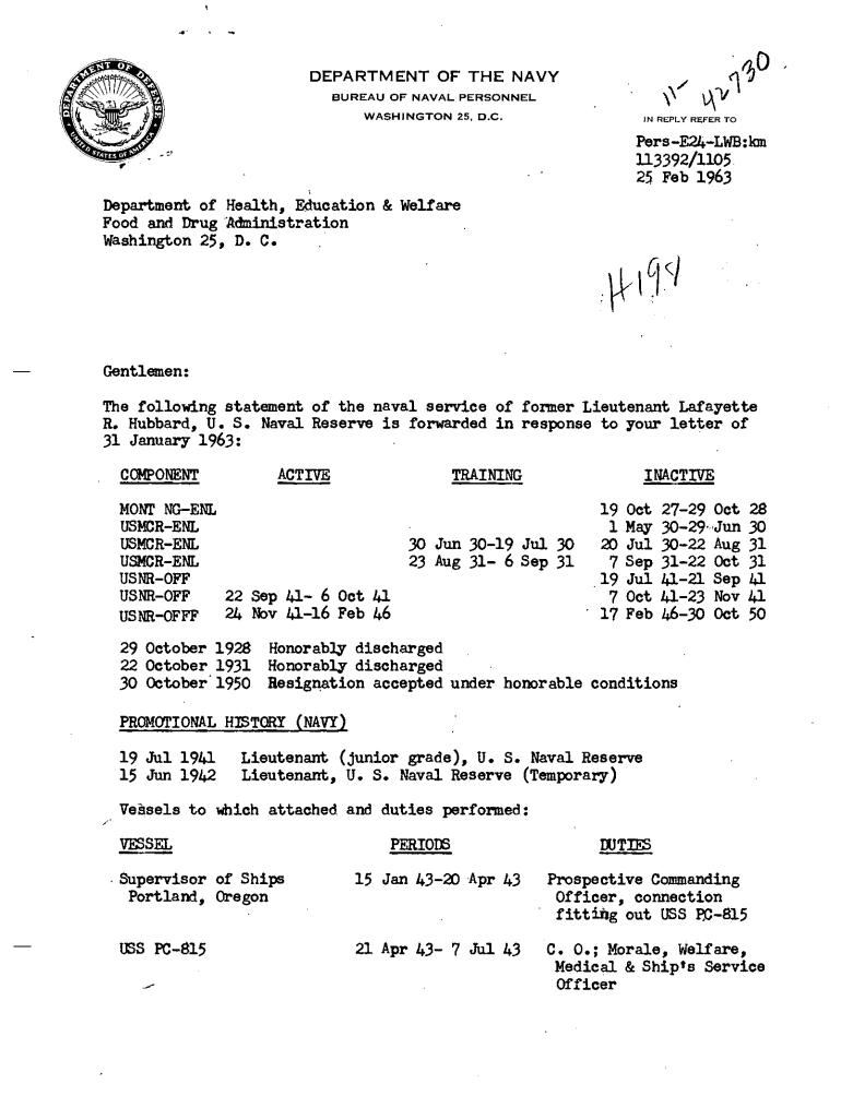 Hubbard naval record 1963