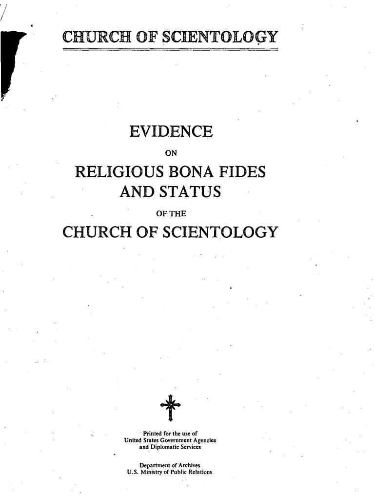religious bonafides scientology