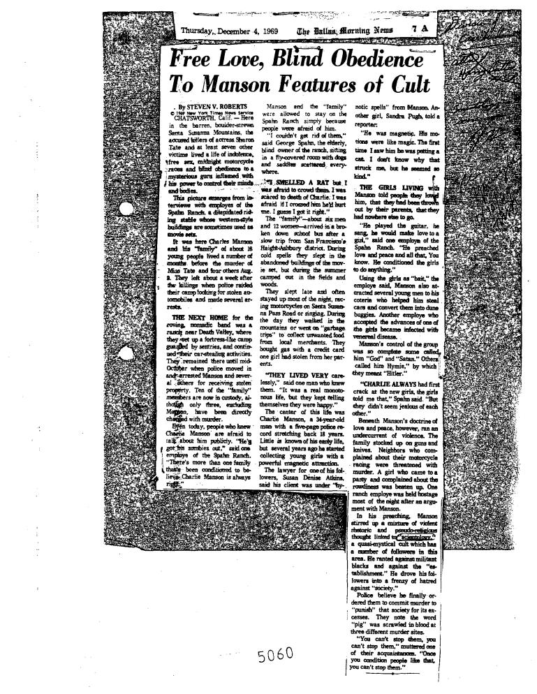Dallas morning news december 4 1969 scientology manson murder