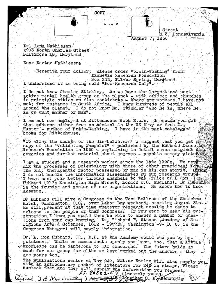 anna to hubbard book seller brainwashing august 1956