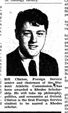 Bill clinton awarded Rhodes scholarship at oxford - 1968