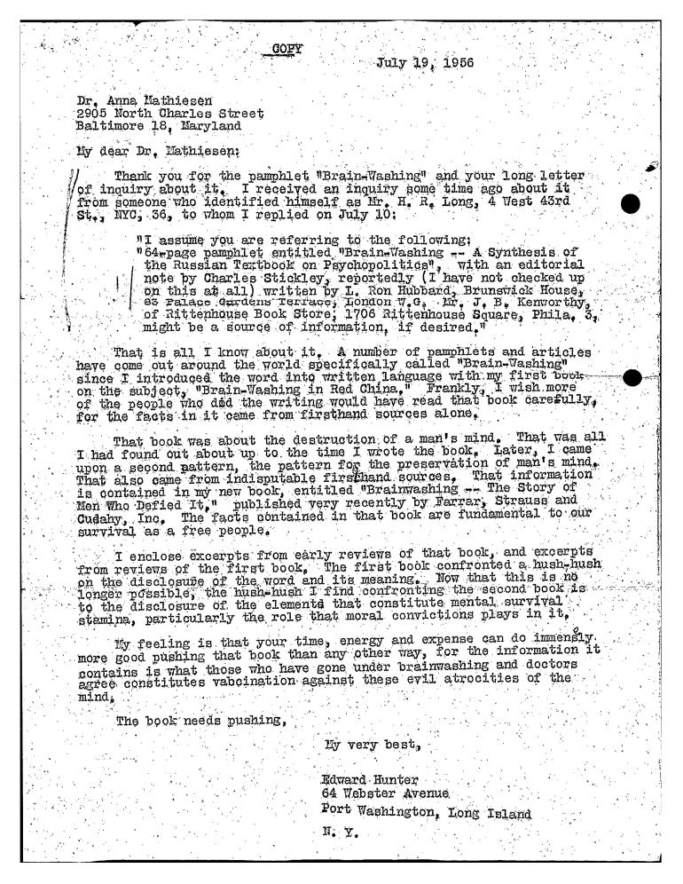 Edward Hunter to Anna re Hubbard and Brainwashing july 1956