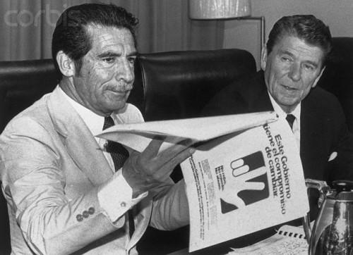 President Ronald Reagan meeting with Guatemalan dictator Efrain Rios Montt.