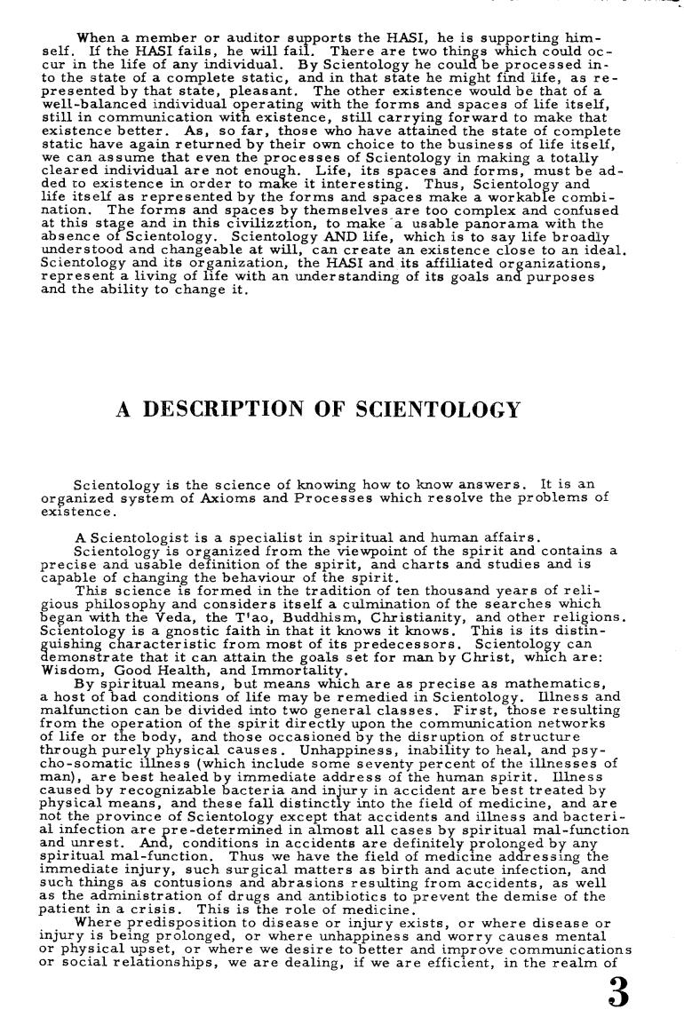 Hubbard description of scientology Ability 1 Major (1955)