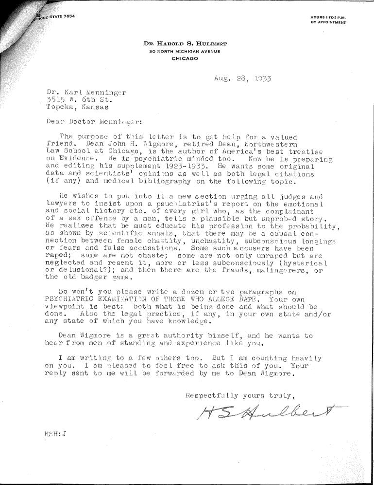 Hulbert to menninger re wigmore request 1933