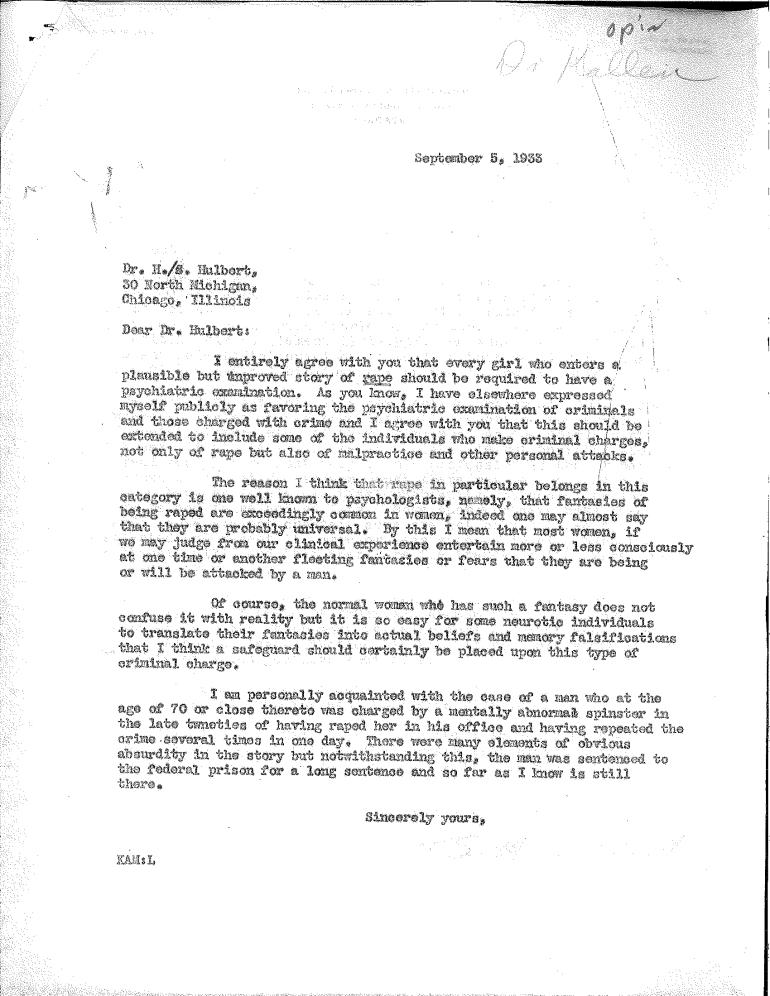 sept 5 1933 Menninger reply to Hulbert