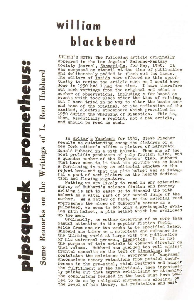 blackbeard pipsqueak prometheus ron hubbard 1962