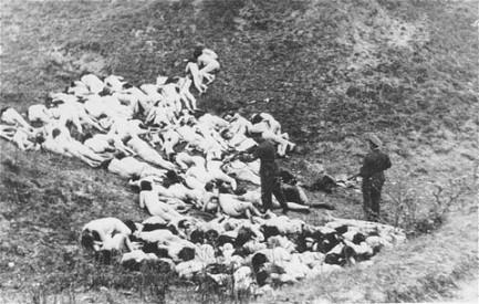 Einsatzgruppe troops finishing off Jewish Women