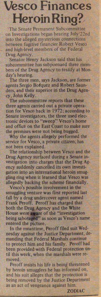 vesco heroin 1974