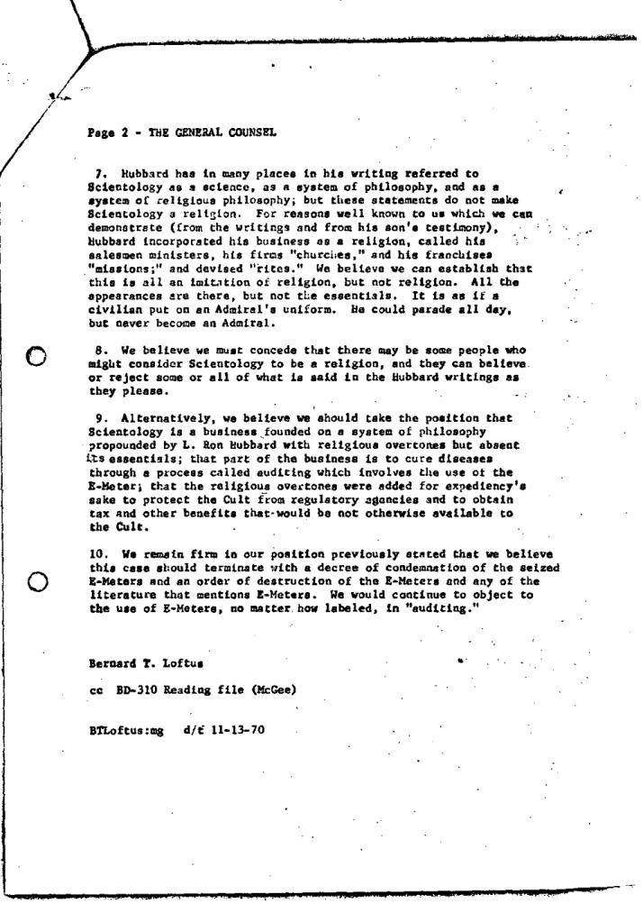 Bud Loftus letter FDA November 13 1970 2