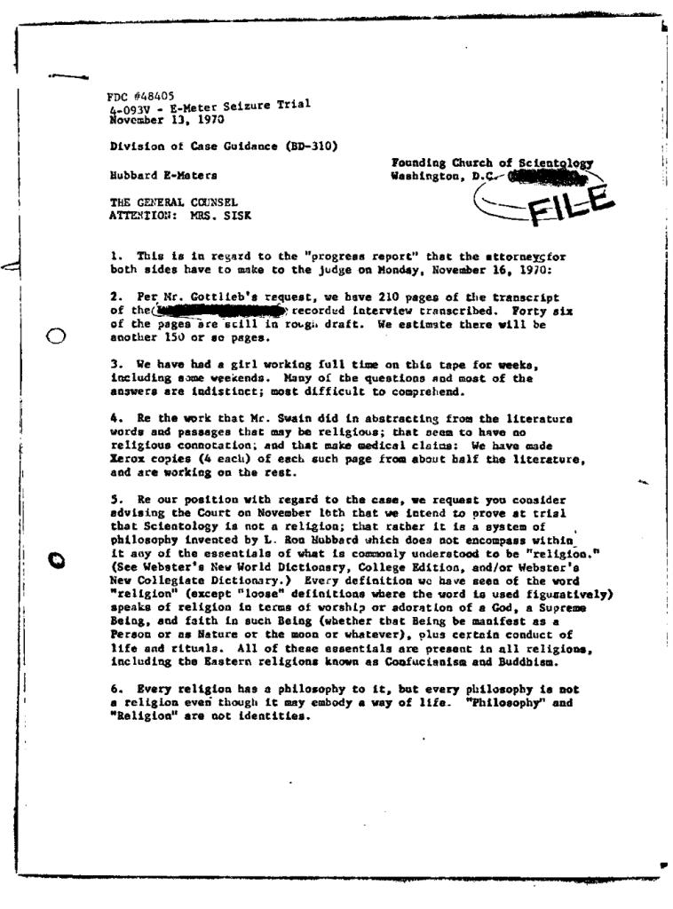 Bud Loftus letter FDA November 13 1970