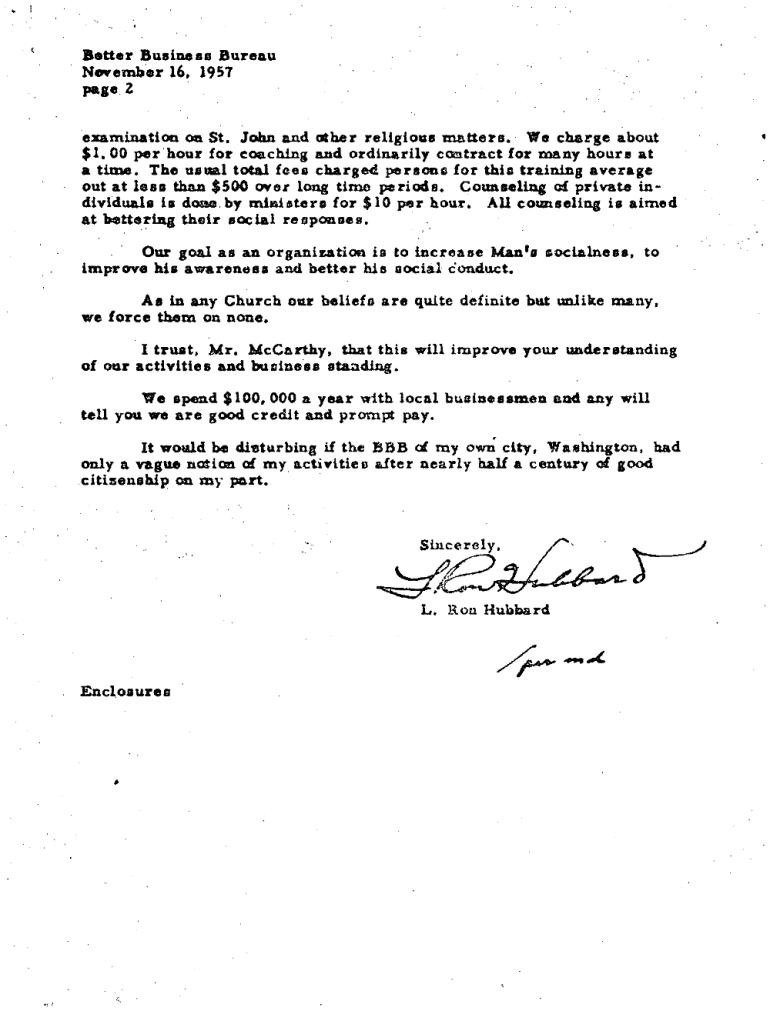 Nov 16 1957 ron Hubbard to BBB Leland Mccartay 2