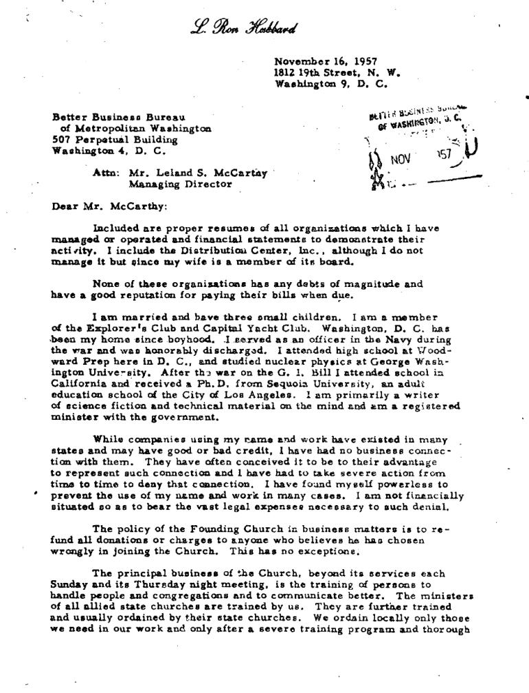 Nov 16 1957 ron Hubbard to BBB Leland Mccartay