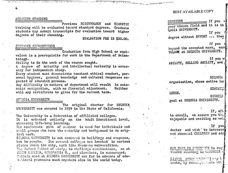 Sequoia University Department of Scientology 1953 courses 3
