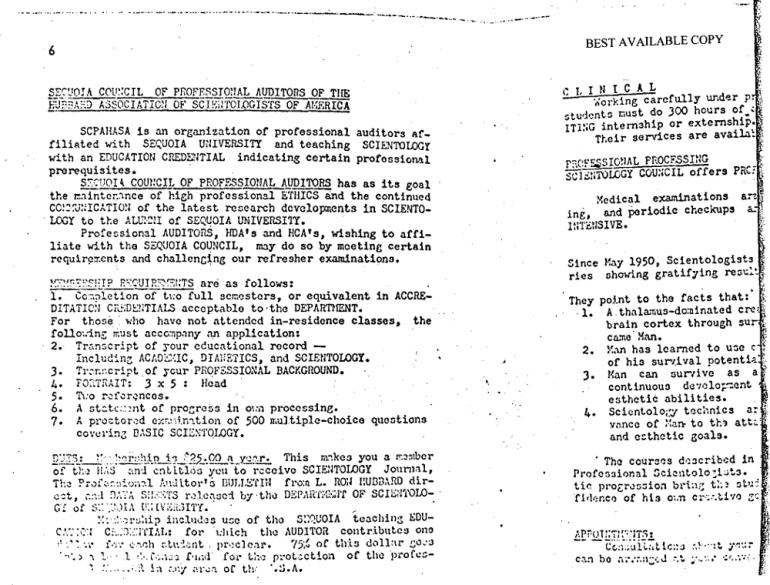Sequoia University Department of Scientology 1953 courses 4