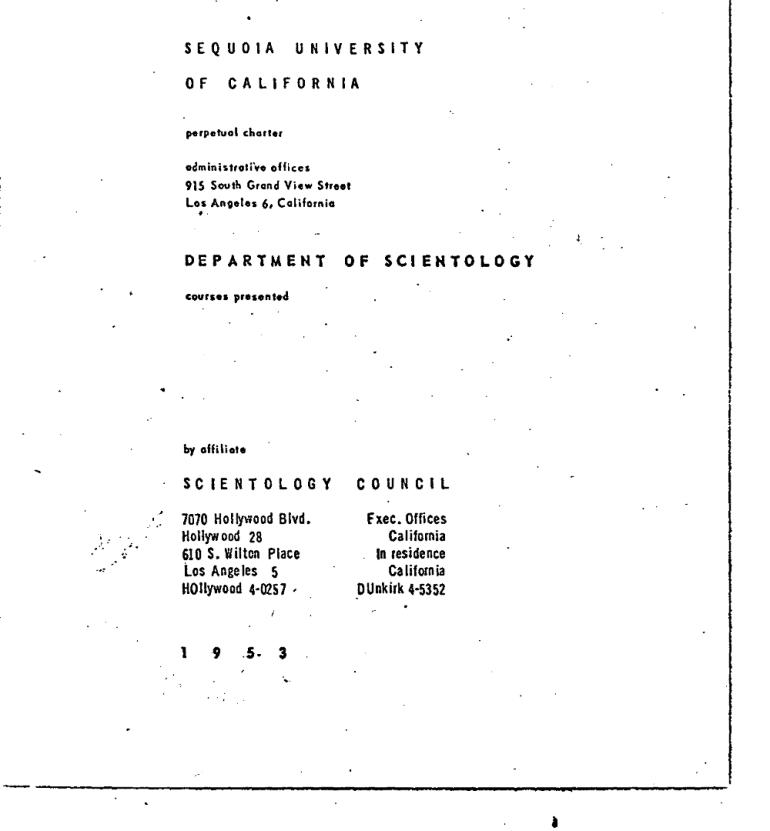 Sequoia University Department of Scientology 1953 courses