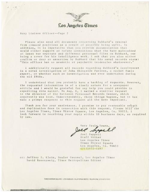 Joel Sappell LA times letter September 9 1986 2