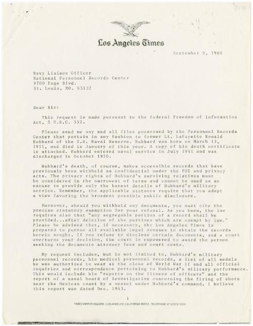 Joel Sappell LA times letter September 9 1986