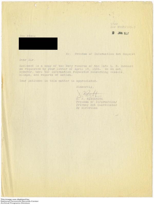 Jon Atack sent Hubbards records 2 days after Miller Jan 9, 1987