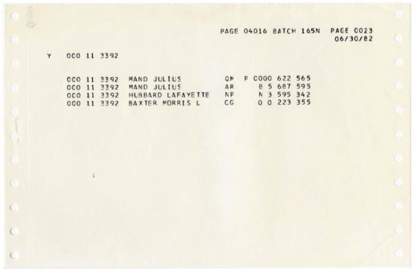 Julius Mand Morris L Baxter same service number as Ron Hubbard Jun 30 1982