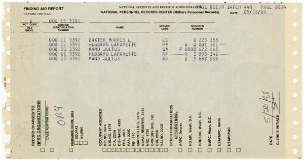 Julius Mand Morris L Baxter same service number as Ron Hubbard May 18 1988