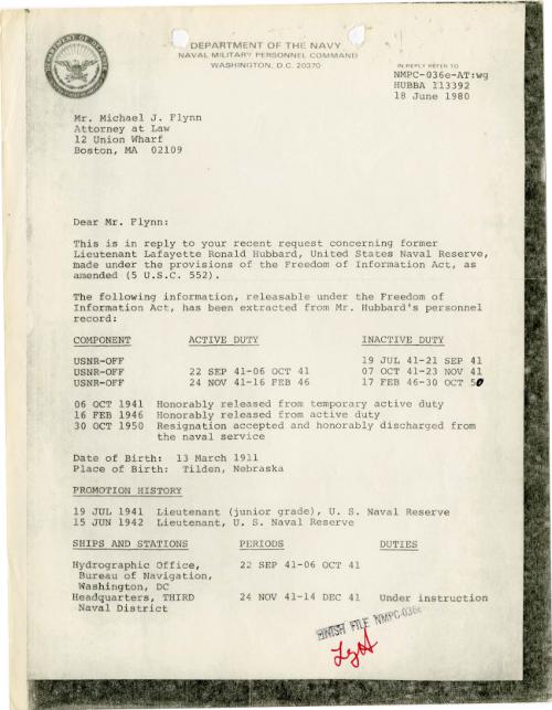 Michael Flynn - Hubbard records 18 June 1980
