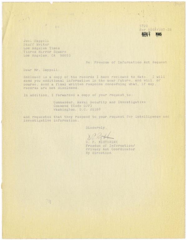 Rigterink to Joel Sappell Nov 7 1986