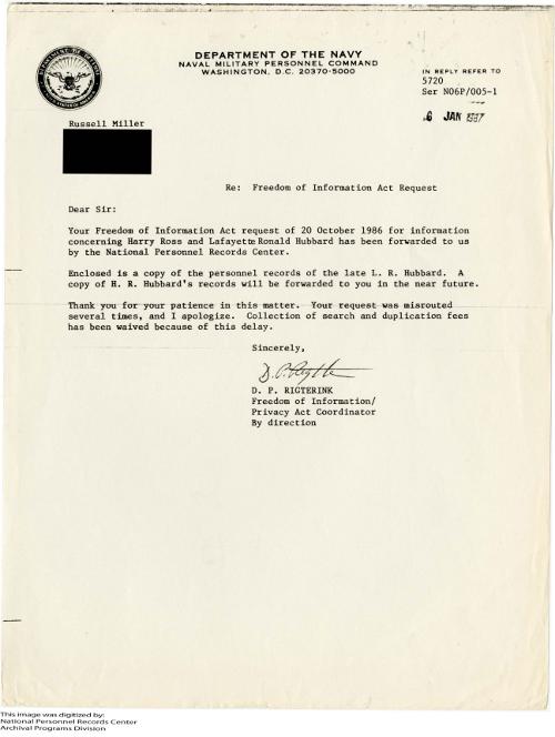 russell miller 20 oct 1986 response 6 jan 1987 FOIA hubbard records