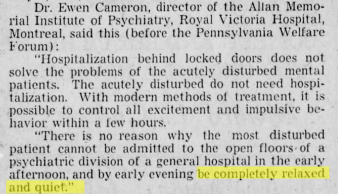 ewen_cameron_kane_republican_9_may_1956_patients_be_QUIET